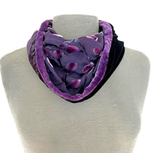 Load image into Gallery viewer, Berry Circle Scarf in Velvet Scrolls Pattern.-Sherit Levin