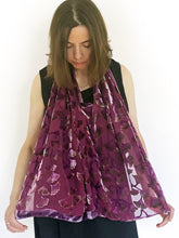 Load image into Gallery viewer, Berry Color Velvet Versatile Poncho with Gingko Pattern-Sherit Levin