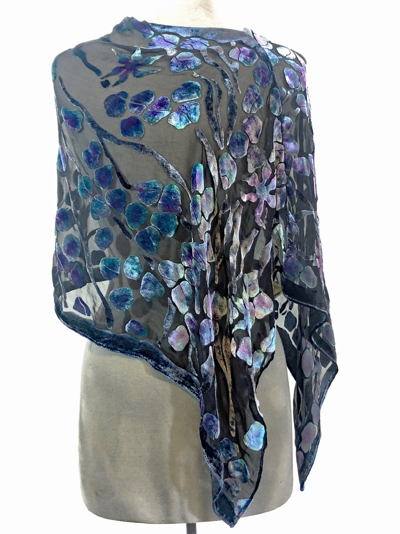 Black Velvet Poncho/Scarf with Pebbles Pattern-Sherit Levin