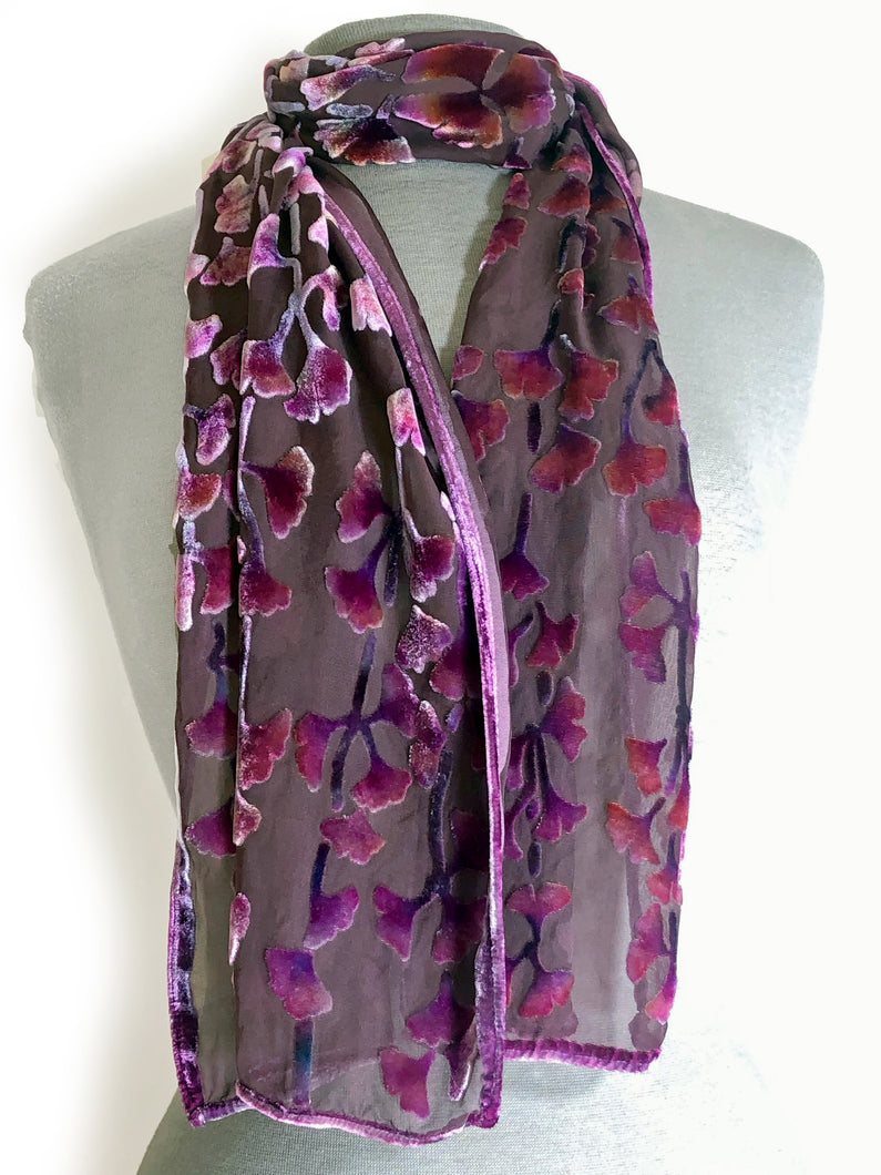 Bordeaux Background Gingko Scarf-Sherit Levin