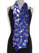 Load image into Gallery viewer, Burnout Velvet Poncho in Purple with Hand-Painted Green Gingko Leaves-Sherit Levin