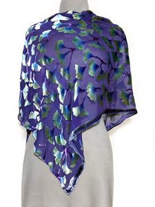 Burnout Velvet Poncho in Purple with Hand-Painted Green Gingko Leaves-Sherit Levin