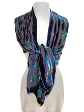 Load image into Gallery viewer, Dragonflies Pattern Black Velvet Scarf/Shawl-Sherit Levin