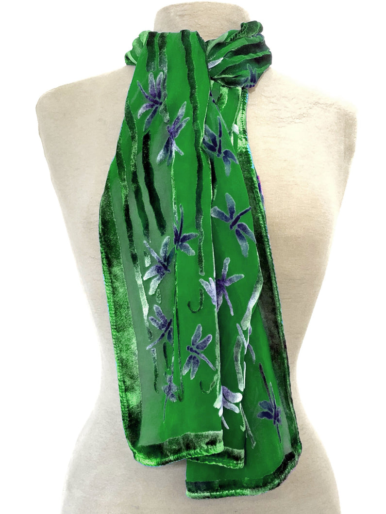 Dragonflies Scarf in Green-Sherit Levin