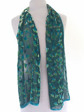 Load image into Gallery viewer, Gingko Leaves Velvet Scarf in Teal-Sherit Levin