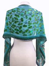 Load image into Gallery viewer, Gingko Leaves Velvet Scarf in Turquoise-Sherit Levin
