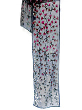 Load image into Gallery viewer, Velvet Devoré Flower Leaves Scarf  in Gray with Magenta