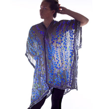 Load image into Gallery viewer, Willow Branches Purple Accent Burnout Velvet Kimono with Black Background