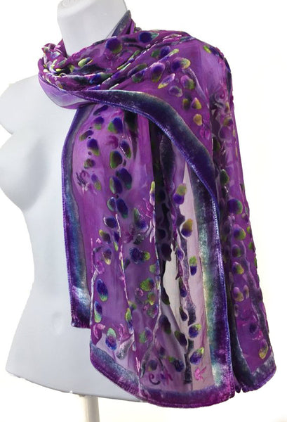 Burnout Velvet Scarf with Willows Pattern in Berry. SOLD OUT