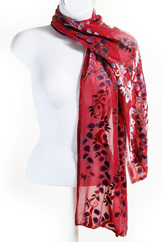 Velvet Scarf with Willow Branches in Red