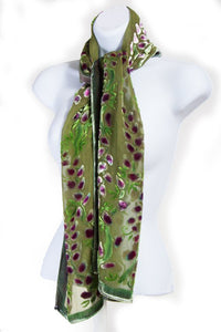 Burnout Velvet Scarf with Willows pattern in Olive Green