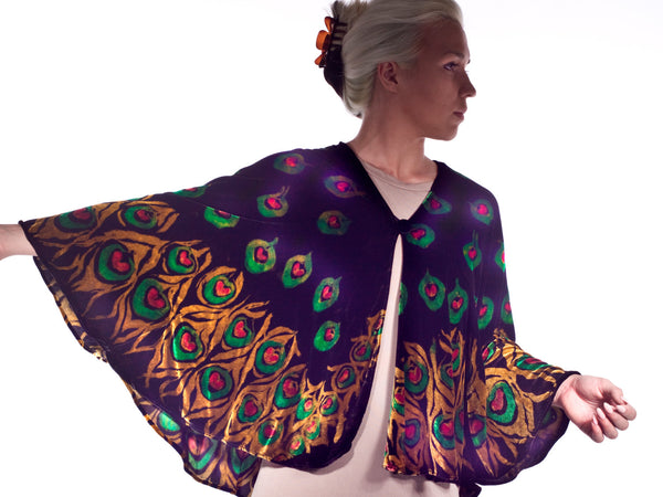Silk Velvet Hand Painted Silk Peacock Feather Cape Black Shawl,  Peacock Shawl,