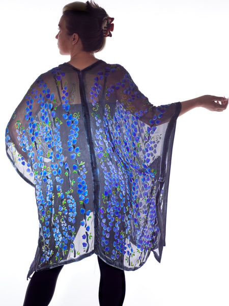 Burnout Velvet Kimono in Black with Purple Pussy-Willows