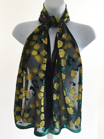 Velvet Scarf with Roses Pattern in Black Yellow and Chartreuse