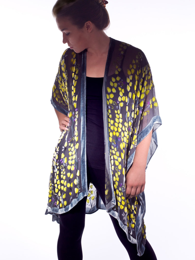 Burnout Velvet Kimono in Black with Chartreuse accents