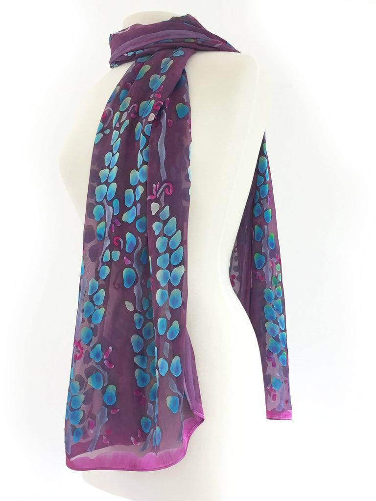 Satin Scarf/Shawl in Berry and Blue