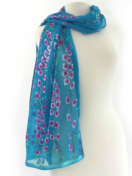 Satin Scarf/Shawl with Willows in Turquoise and Berry-SOLD OUT