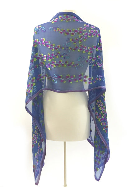 Satin Scarf/Shawl Purple Willows