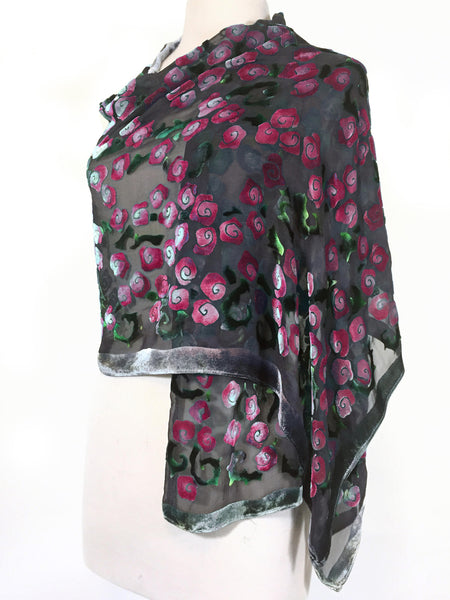 Burnout Velvet Scarf Shawl Hand-Painted with Magenta Roses