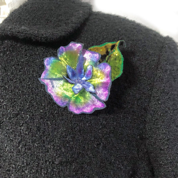 Silk Velvet Flower Hair Clip, Velvet Flower Pin, Austrian Crystal Accents Hand Dyed and Individually Painted.