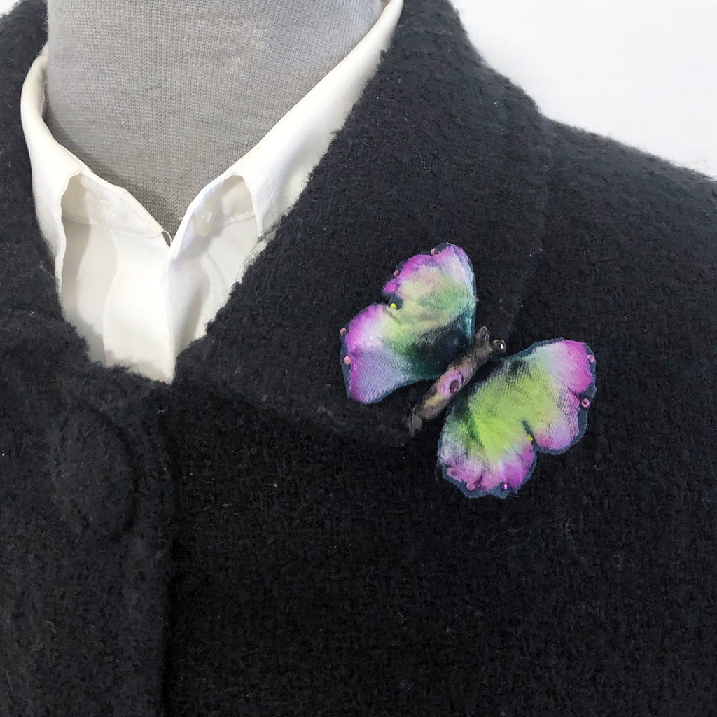 Silk Velvet Butterfly Pin, for Hair or Brooch with Austrian Crystal Accents Hand Dyed and Individually Painted.