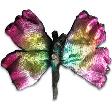 Load image into Gallery viewer, Silk Velvet Butterfly Pin, for Hair or Brooch with Austrian Crystal Accents Hand Dyed and Individually Painted.