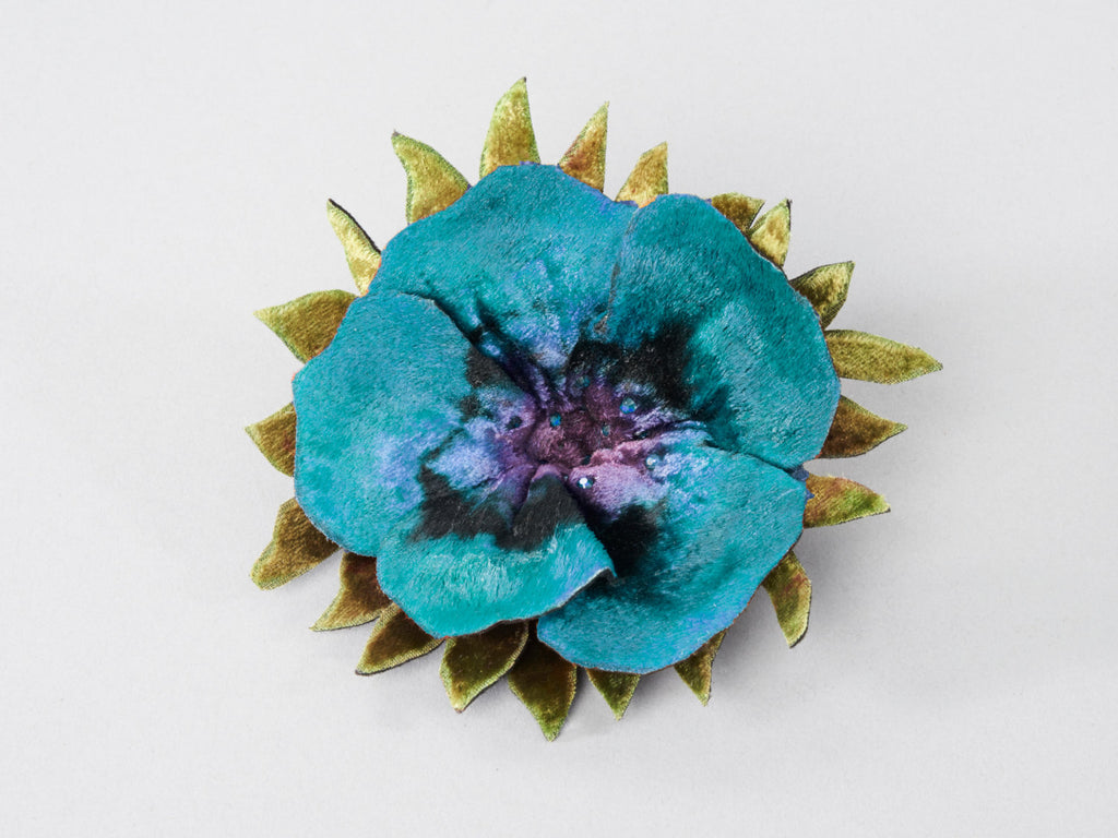 Colorful Velvet, Hand Painted, Hand Dyed Pin with Austrian Crystals.