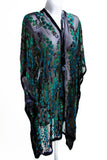 Velvet Kimono with Willow Branches in Black and Teal