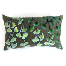 Load image into Gallery viewer, Gingko Velvet Pillow in Shades of Green