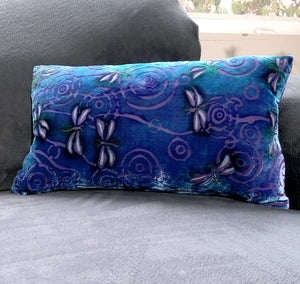 "Purple 12""x20"" Pillow with Dragonflies Pattern-Sherit Levin"