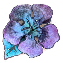 Load image into Gallery viewer, Purple and Aqua Velvet Hair Clip/Pin-Sherit Levin