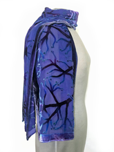 Load image into Gallery viewer, Purple Velvet Scarf of Branches with Rain Drops Pattern-Sherit Levin