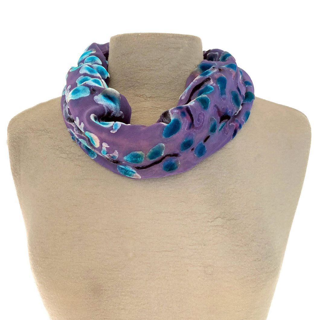 Purple Velvet Willow Branches Circle Scarf-Sherit Levin