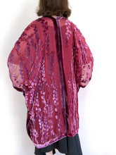 Load image into Gallery viewer, artist modeling the back of red burnout velvet kimono jacket she made.