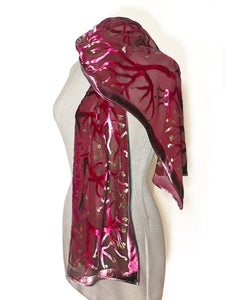 Red Velvet Scarf of Branches with Rain Drops Pattern-Sherit Levin