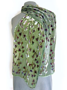 Sage Background Gingko Scarf-Sherit Levin