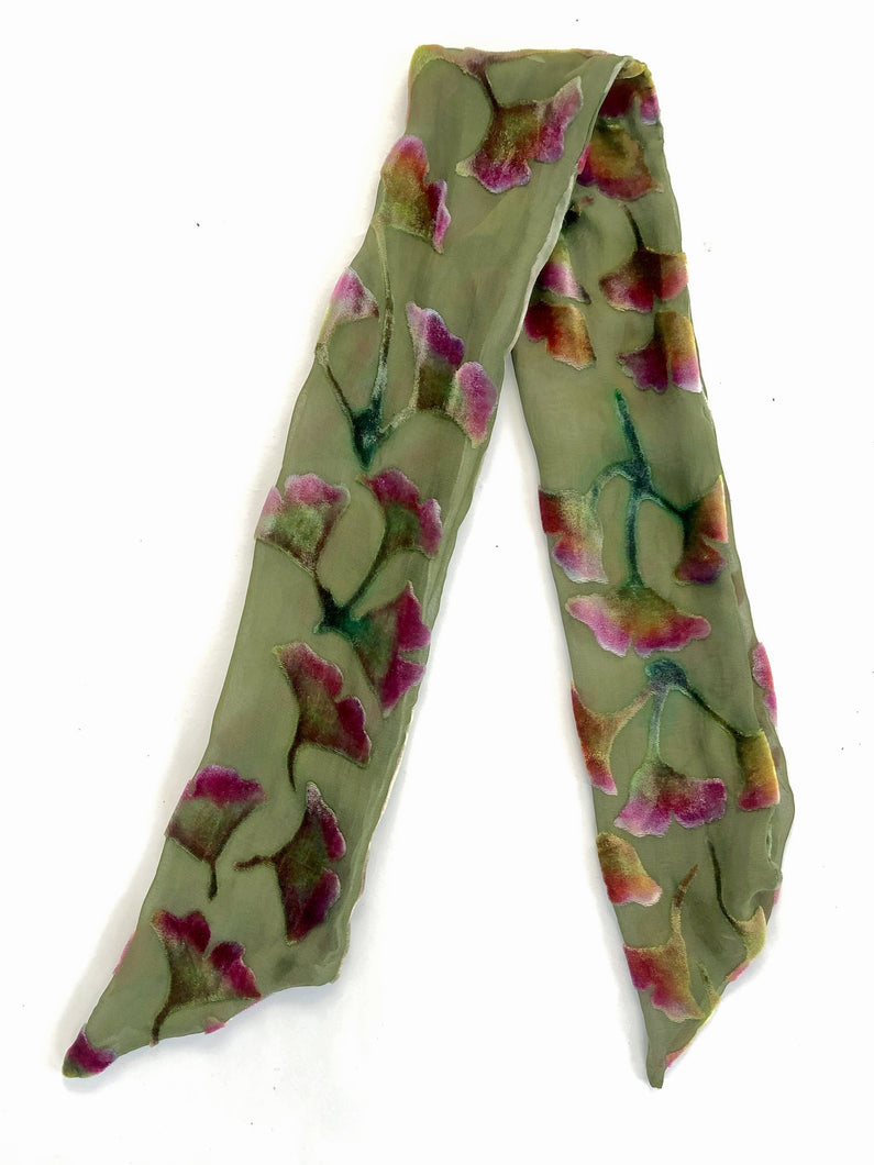 Scarflet with Floral Pattern in Olive-Sherit Levin