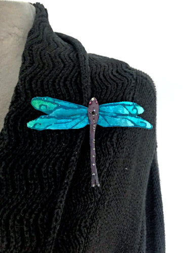 Silk Velvet Dragonfly Pin in Turquoise-Sherit Levin