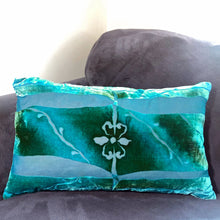 Load image into Gallery viewer, Teal  hand painted burnout velvet Pillow Inspired by Architectural Details with fleur de lis center on gray couch