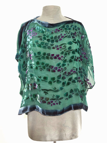 Teal Velvet Poncho Top with Willows Pattern.-Sherit Levin