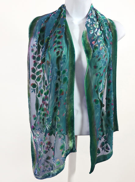Velvet Scarf with Willows Pattern in Teal