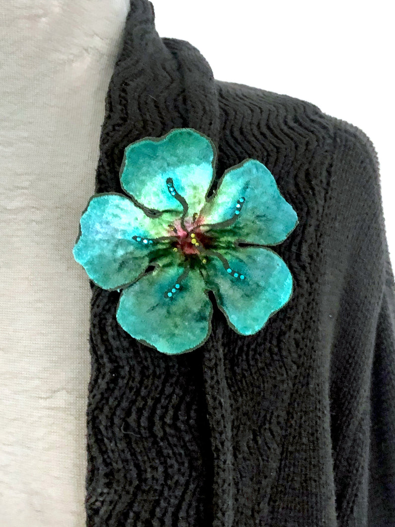 Turquoise Large Flower Pin-Sherit Levin