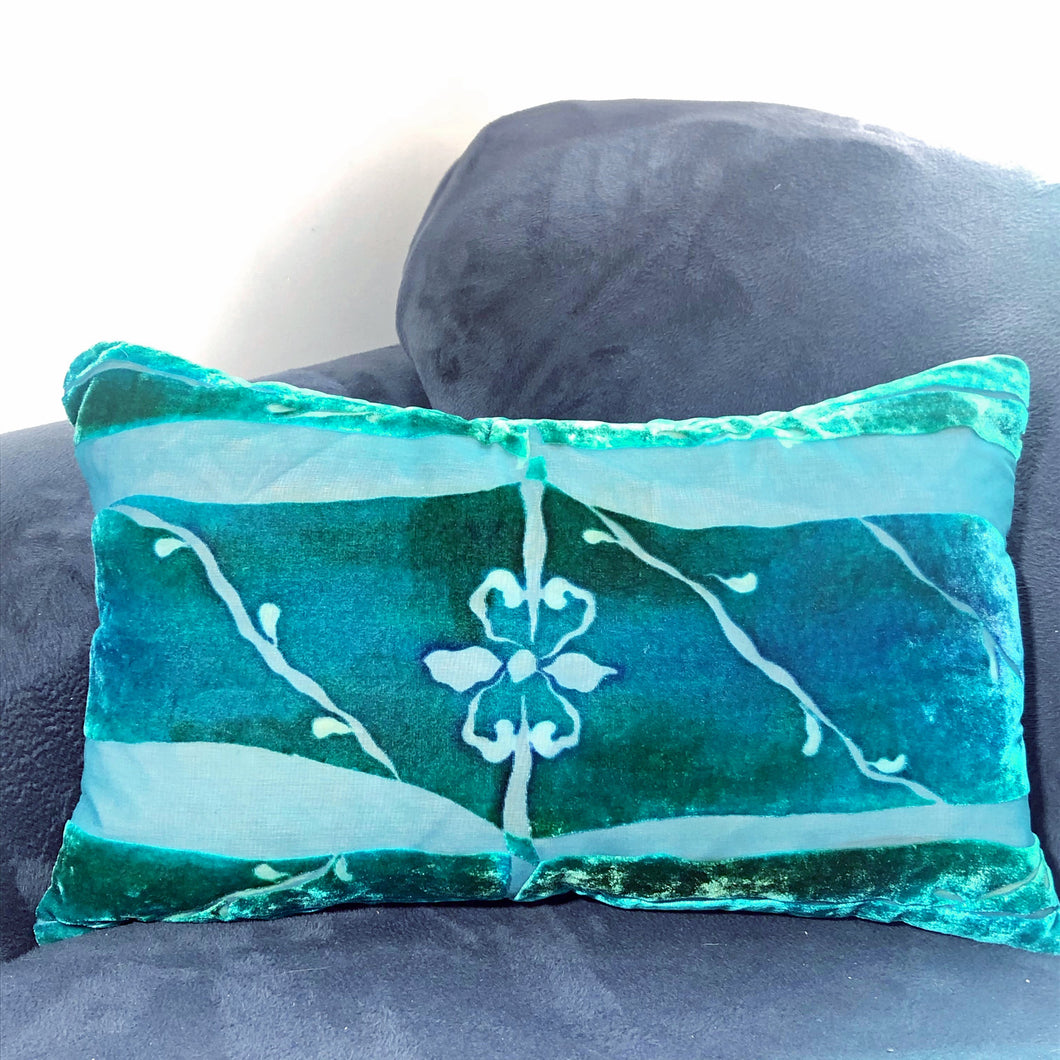 Turquoise hand painted burnout velvet Pillow Inspired by Architectural Details with fleur de lis center