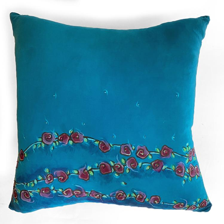 Turquoise Roses Pattern Silk Pillow Cover 20