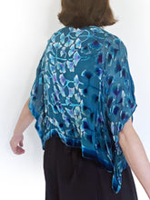Load image into Gallery viewer, Turquoise Velvet Poncho Top with Gingko Pattern.-SOLD-Sherit Levin