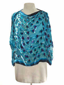 Turquoise Velvet Poncho Top with Gingko Pattern.-SOLD-Sherit Levin