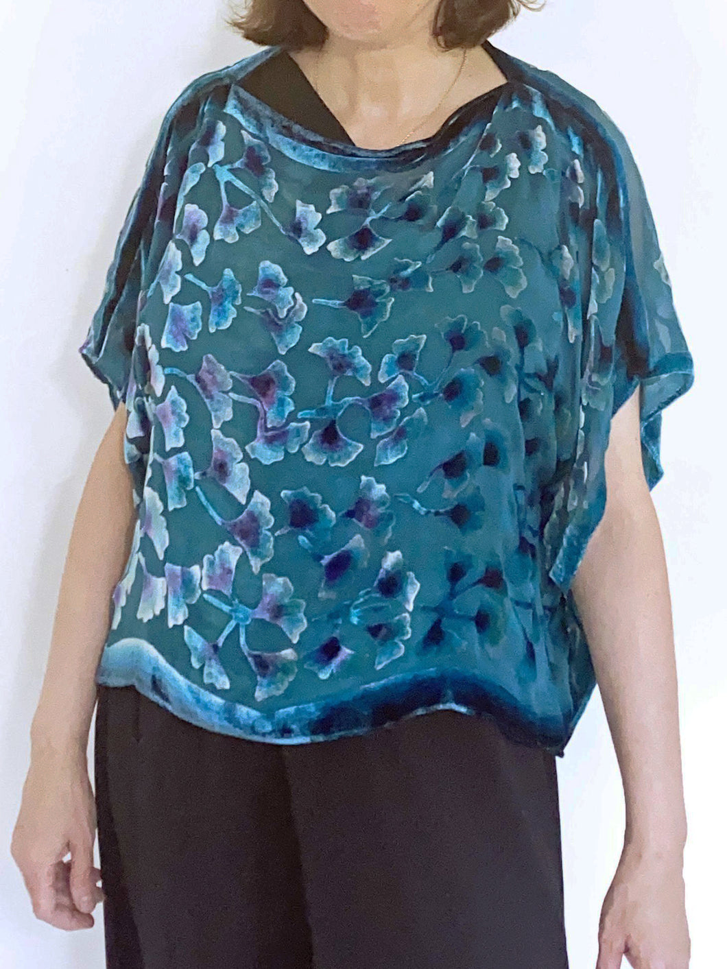 Turquoise Velvet Poncho Top with Gingko Pattern