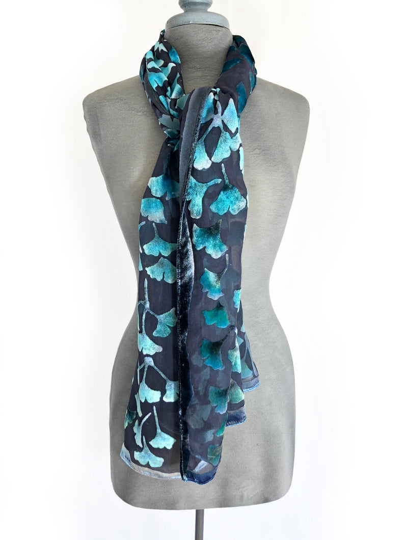 Velvet Gingko Leaves Scarf/Shawl in Dark Gray and Turquoise-Sherit Levin
