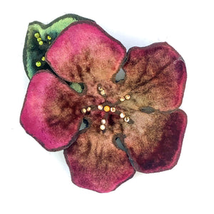 Velvet Hair Clip/Pin in Coral-Sherit Levin