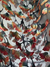 Load image into Gallery viewer, Velvet Kimono Gingko Leaves in Black and Orange Earth Tones-Sherit Levin